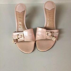 Louis Vuitton Pink Patent Sandals LV Mono Dice  35